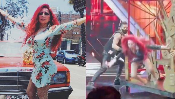 """Monique Pardo muestra cómo fue su estrepitosa caída en """"El Artista del Año"""". (Foto: Composición/Instagram)"""