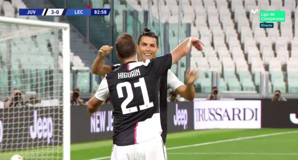 Gonzalo Higuaín marcó un golazo ante Lecce tras un pase de taco de Cristiano Ronaldo. (Foto: captura)