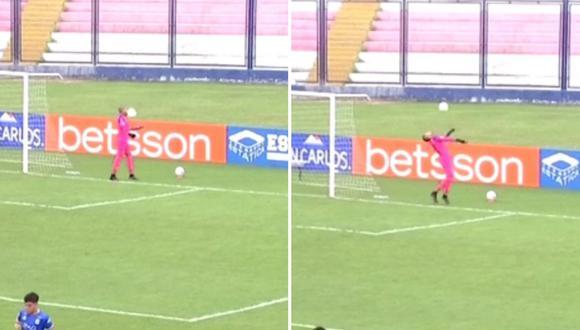 Arquero de Carlos Mannucci recibió pelotazo que lo dejó en el piso. (Foto: Captura Golperú)