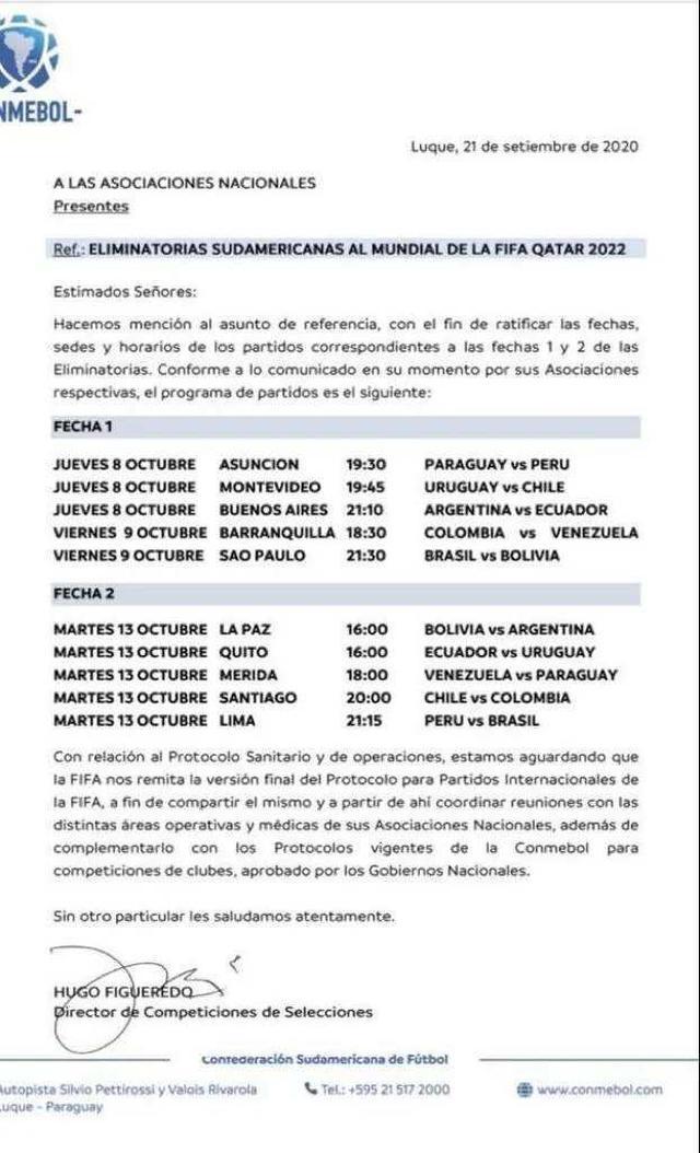 Conmebol confirmó los horarios de la jornada doble de las Eliminatorias Qatar 2022. (Foto: Conmebol)