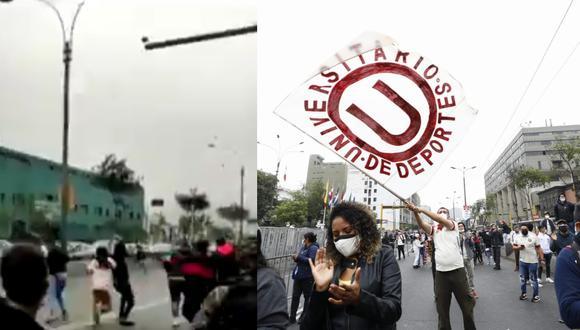 El hecho se produjo en horas de la mañana cuando los barristas 'cremas' realizaban un plantón frente al Congreso